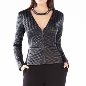 BCBGMAXAZRIA Pearson Quilted Faux-Leather Top